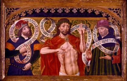 Cristo de Piedad con David y Jeremías, Diego de la Cruz. Óleo sobre tabla, 60,5 x 93,5 x 4,5 cm. 1500. Madrid, Museo Nacional del Prado. Donación de Várez Fisa